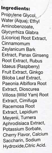 VigRX Delay Spray Ingredient label